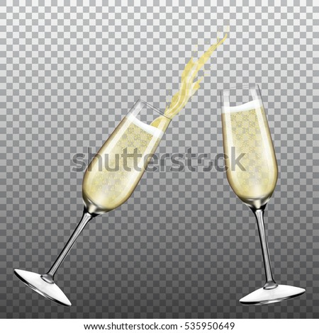 Two glasses of champagne with splash
