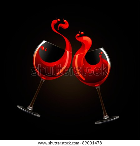 Two glasses of red wine with splash over black background - stock vector