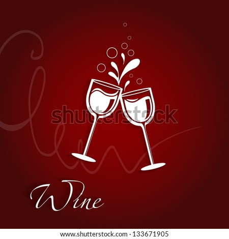 Two glasses of wine - stock vector