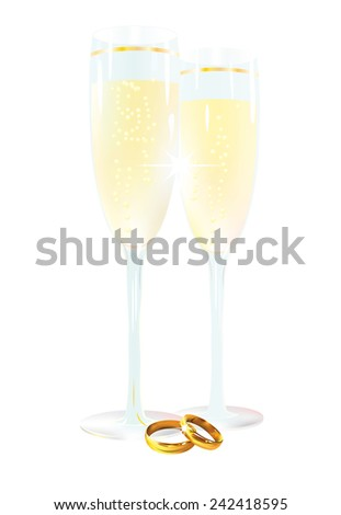 Two glasses with champagne and ring, isolated