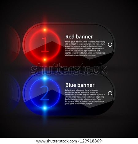 Two glossy banners with glowing numbers and place for text. Useful for presentations or web design. - stock vector