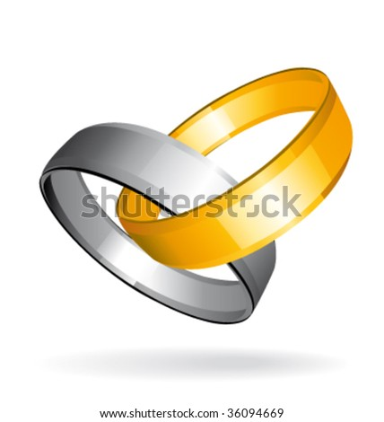 Two gold and silver wedding rings with shadow. Vector illustration. - stock vector