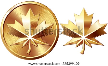 Two gold maple leaf isolated on white. Eps8. CMYK. Organized by layers. Global colors. Gradients used. - stock vector