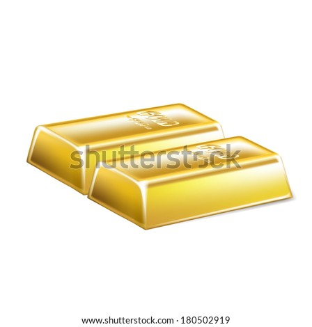 two golden bars isolated on white background