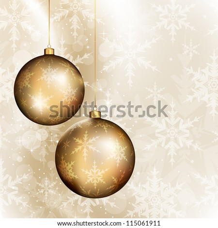Two golden baubles on bright background with subtle snowflakes pattern - stock vector