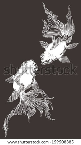 Two golden fish in black and white - stock vector