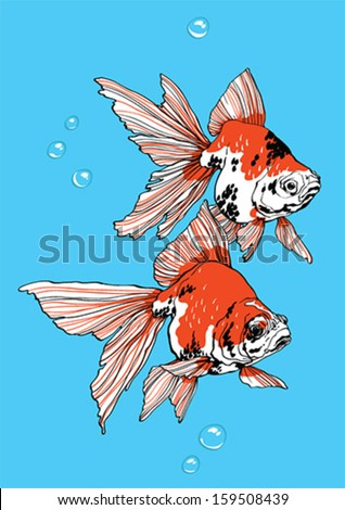 Two golden fish one above another on blue background - stock vector