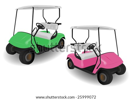 Two Golf Cart Buggies Illustrations on White - stock vector