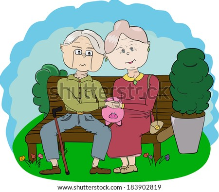 Two grandparents on a park bench with a piggy bank. Illustration of two old embracing parents. Grandmother and grandfather in love. Image for book, story, background, advertising, billboard
