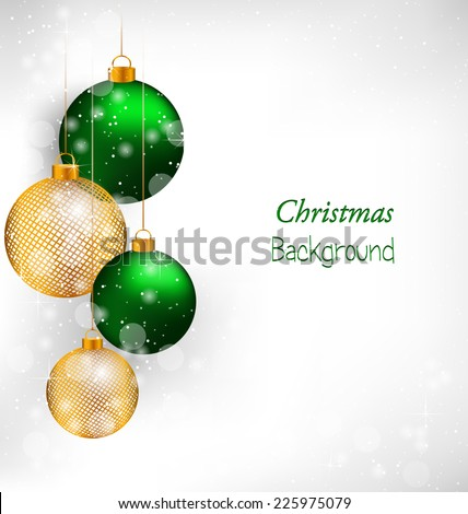 Two green and two golden netting Christmas balls in snowfall on grayscale background - stock vector