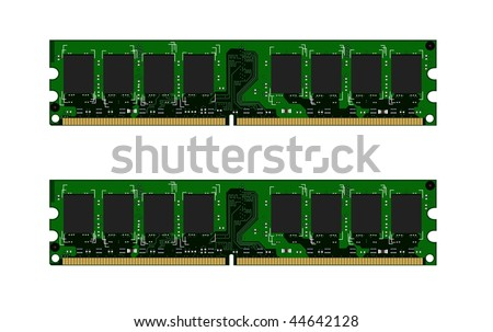 Two green DDR modules - vector - stock vector