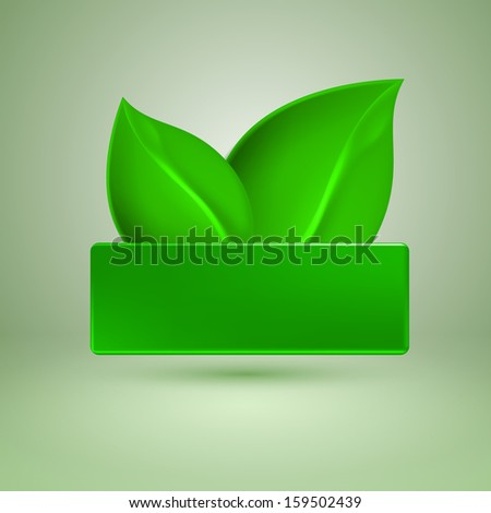 Two green leaves. Label with place for text. EPS10 vector.