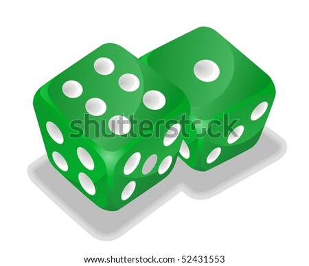 two green vector dice - stock vector