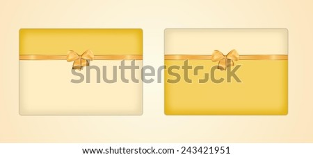 two greeting cards with ribbon and bow on gray background - stock vector