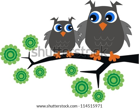 two grey owls - stock vector