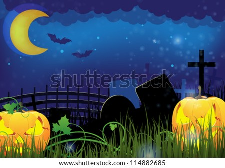 Two grinning Jack o Lanterns on a night cemetery. Abstract Halloween  background - stock vector