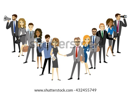 Two group of a professional business team standing isolated on white background, vector illustration - stock vector