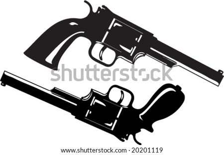 Two guns, one of them with the custom made handle - stock vector
