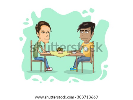 two guys on a table cartoon/ Vector illustration of two guy, layered and editable Eps 10.