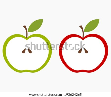 Two halves of apple, green and red. Vector illustration - stock vector