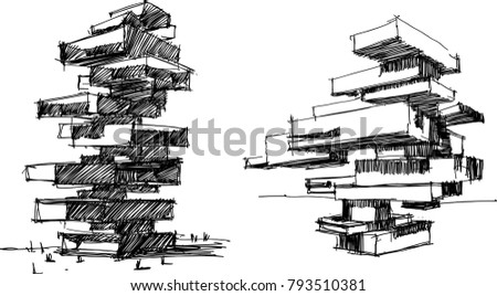 architectural buildings sketches. Modren Buildings Two Hand Drawn Architectural Sketches Of A Tall Modern Abstract Buildings  Or Residential Tower And Architectural Buildings Sketches E