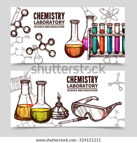 Two hand drawn style banners with titles of chemistry laboratory equipments and elements isolated vector illustration - stock vector