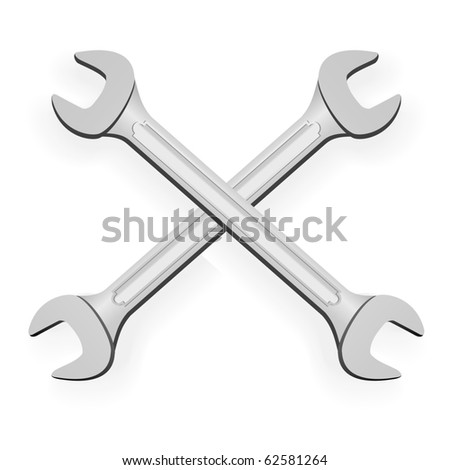 Two hand wrench tools - vector - stock vector