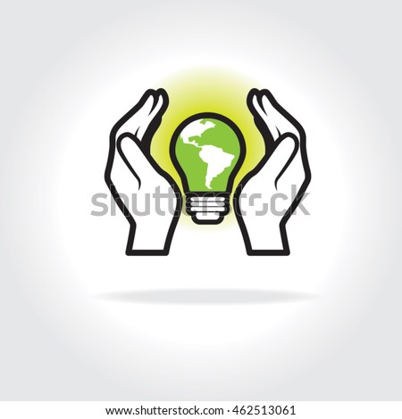 Two hands cupped, protecting a glowing light bulb with the South America continent. Concept for use of alternative green energy and power sources in the world