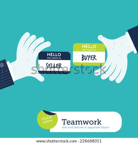 Two hands exchanging visit cards with my name card is seller buyer. Vector illustration Eps10 file. Global colors. Text and Texture in separate layers. - stock vector