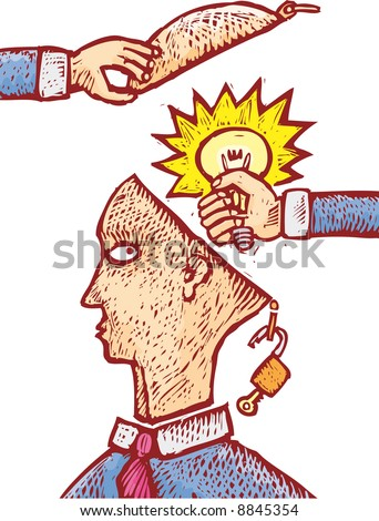 two hands grabbing an idea from an human head. An intellectual property concept - stock vector