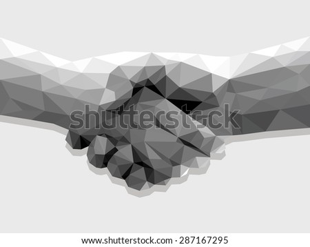 two hands handshake polygonal low poly contract agreement monochrome on a light background. - stock vector