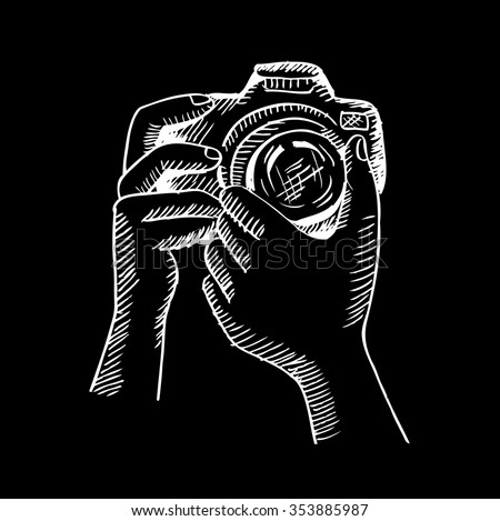 Two Hands Holding Camera Hand Drawing Stock Vector 353885987 ...