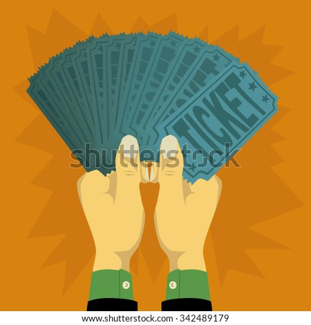 Two hands holding a lot of ticket - stock vector