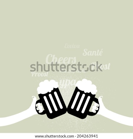Two hands holding beer glasses - cheers symbol and headlines in different languages - stock vector