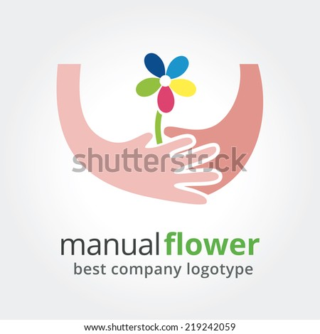 Two hands holding colored flowers. Vector nature logotype isolated on white background - stock vector