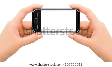 Two hands holding mobile smart phone with blank screen. Vector illustration.