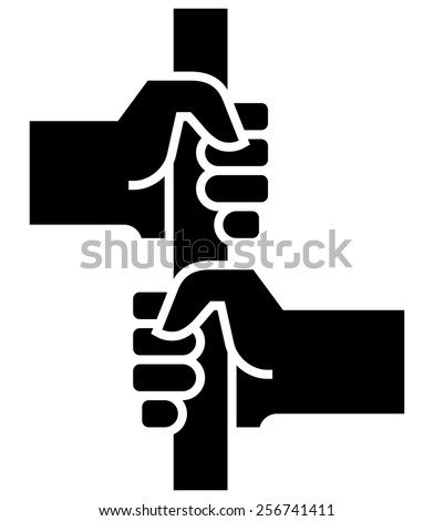 Two hands holding stanchion icon - stock vector