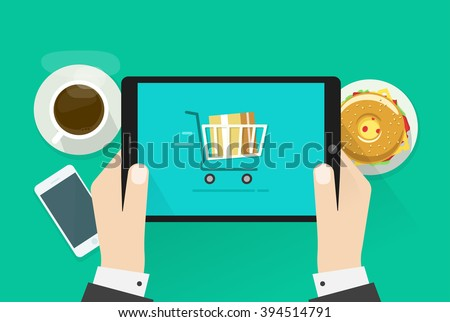 Two hands holding tablet computer device vector illustration, breakfast top view concept, abstract table with fast food, coffee cup, mobile phone, burger, flat cartoon design isolated on green - stock vector