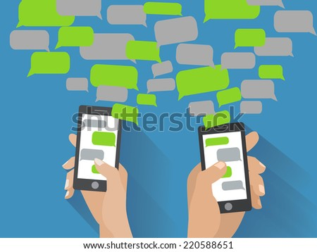 Two hands holing black smartphones with blank speech bubbles for text. Text messaging flat design concept. Eps 10 vector illustration - stock vector