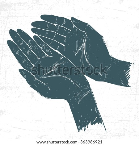 Two hands in a graphic style. - stock vector