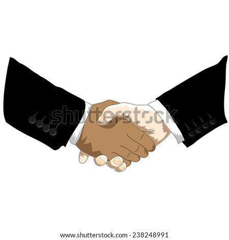 Two hands in dressed in business style suits shaking hands in agreement - stock vector