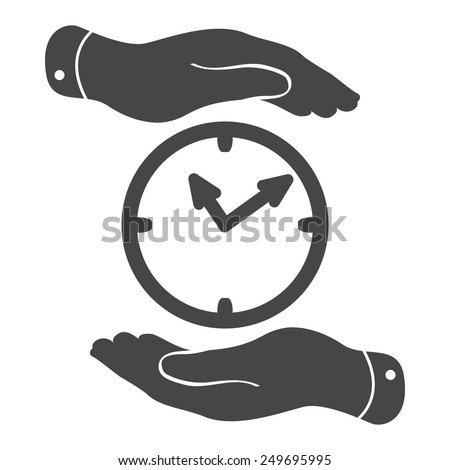 two hands protecting black clock icon on a white background - vector illustration - stock vector