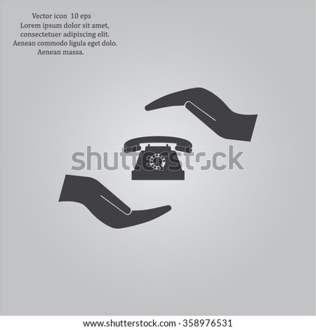 Two hands protecting or giving a phone - stock vector