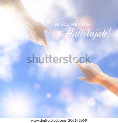 Two hands reaching towards each other over sky background. Vector illustration. - stock vector