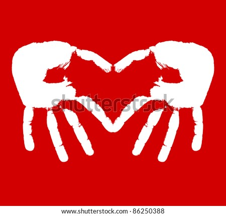 Two hands representing heart. Vector illustration - stock vector