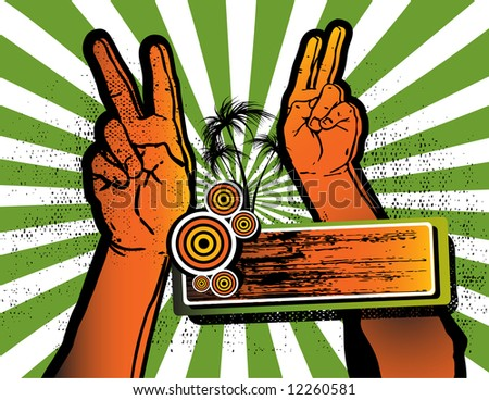 two hands showing victory or peace sign and a label with palm trees grunge vector illustration