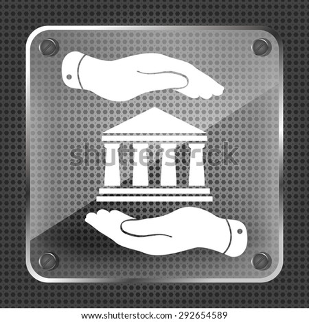 two hands with badge with bank icon on a metallic background - vector illustration - stock vector