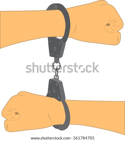 two hands with different sides put in handcuffs - stock vector