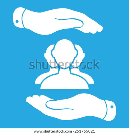 two hands with group of businessman icon on a blue background - vector illustration - stock vector
