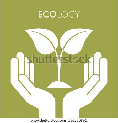 Two hands with leaves on green background, Vector Illustration - stock vector